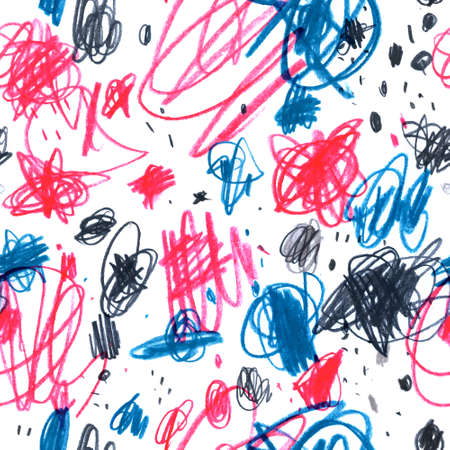 Seamless pattern with pencil drawn doodles