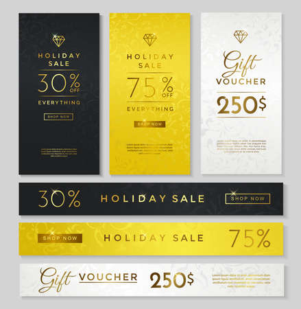 Luxury style holiday sale banner, gift voucher, black, gold and silver