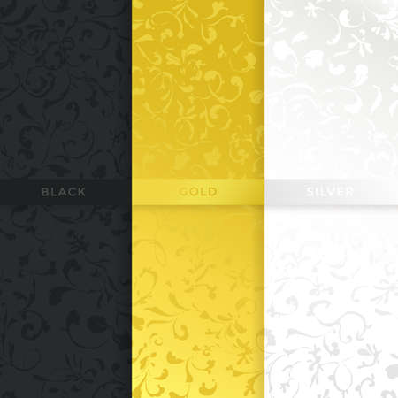 Luxury style vintage seamless pattern in three different variations: dark, gold and silver Stock Illustratie