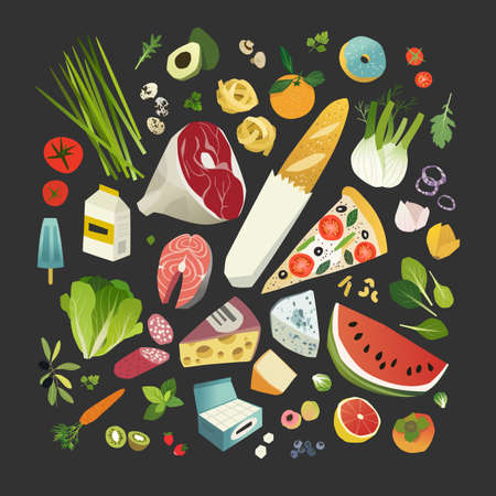 Groceries, fruits and vegetables, meat and cheese, some bakery and dairy product Stock Illustratie