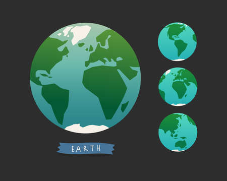 Illustration of Earth globe. World map set