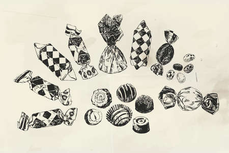 Ink drawn assorted candies, vintage illustration drawn on old paper