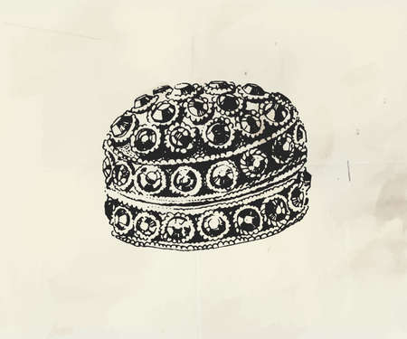 Ink drawn jewelry casket decorated with little precious stones Stock Illustratie