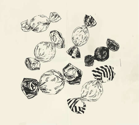 Vintage illustration with ink drawn candies