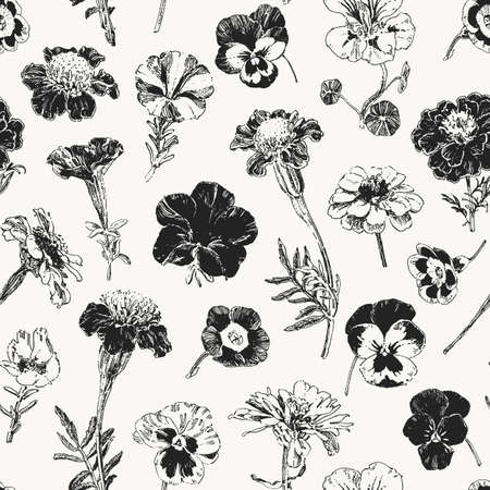 Vintage botanical graphics, seamless pattern with isolated hand drawn flowers such as marigold, petunia, pansies etc Ilustração