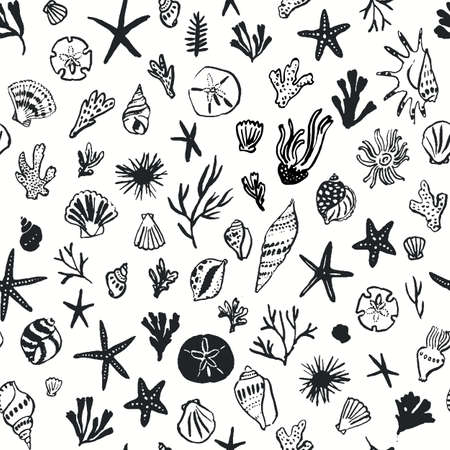 Seamless pattern with seashells, corals and starfishes. Ink drawn marine background Ilustração