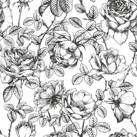 Hand drawn roses managed into seamless pattern