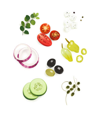 Traditional Greek salad ingredients, food concept, clipart vector isolated on white Иллюстрация