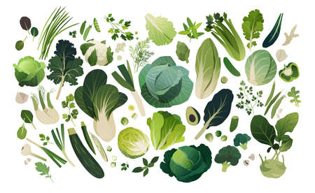 Isolated herbs and vegetables managed into pattern, leafy greens template background