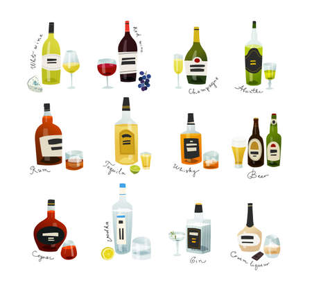 Mini bottles collection. Alcohol drinks set in flat design style