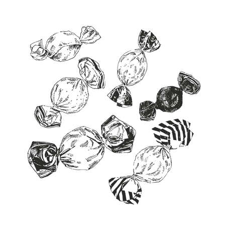 Ink drawn candies isolated on white