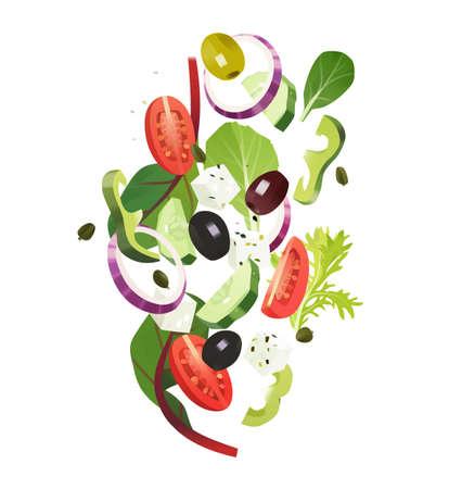 Greek salad common ingredients, sliced vegetables, leafy greens, feta cheese