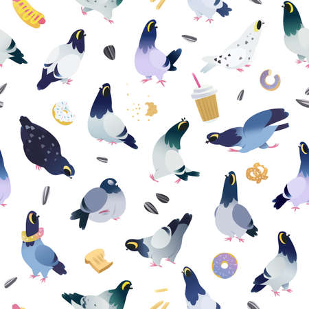 Pigeon cartoon characters, seamless pattern design