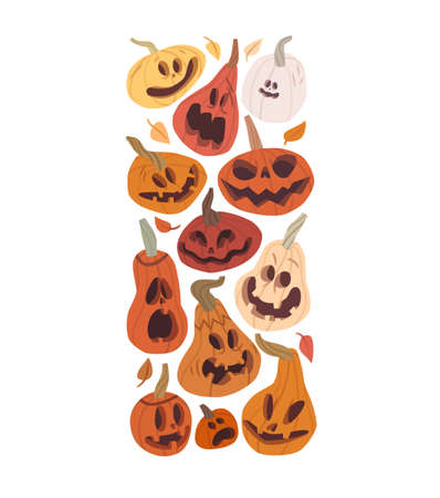 Cartoon pumpkin characters with face expressions, Halloween banner design, sticker icons