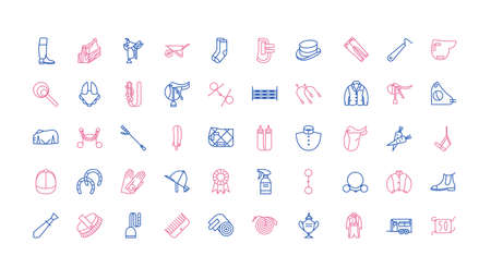Big set of equestrian icons, horse riding collection for web design 向量圖像