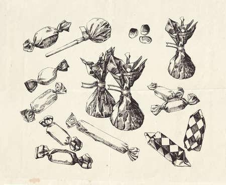 Hand drawn candies, vintage illustrations 向量圖像