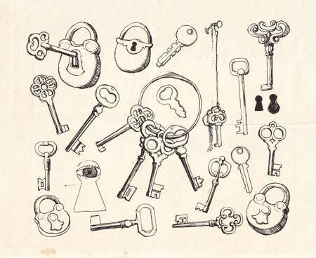 Key set,  hand drawn locks and keys