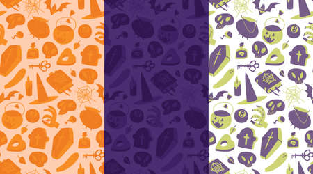 Halloween seamless pattern variations, holiday background design