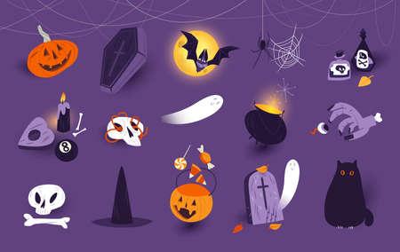 Halloween icons set, clip art decorations, design elements