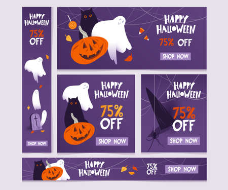 Vector set of Halloween sale banners with pumpkin, black cat and ghosts