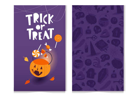 Trick or treat, Halloween greeting card design with seamless pattern