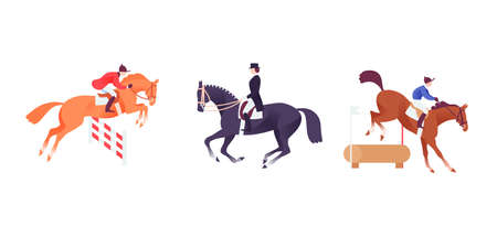 Equestrian icon set, horse sport clip art, horses with riders in show jumping, dressage and cross competition
