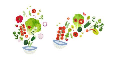 Food clip art, vegetable set, salad splash, cook book design elements 向量圖像