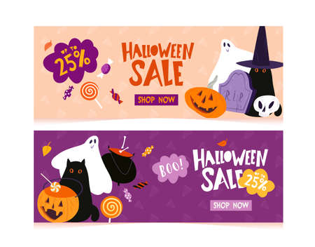 Halloween sale banner template with traditional holiday character and decoration Çizim