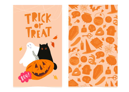 Trick or treat banner template, Halloween seamless pattern