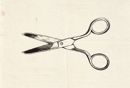 Vintage hand drawn illustration of scissors, craft supply and office tool Çizim