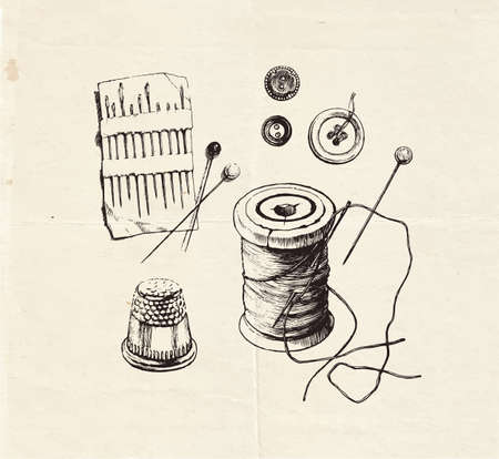 Ink drawn sewing set with buttons, threads, needles and thimble