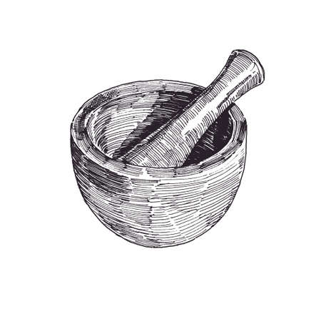 Mortar and pestle hand drawn illustration, kitchen tool and equipment