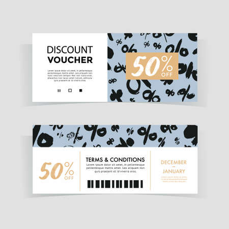 Discount voucher design, front and back sides template, sale offer concept Ilustração