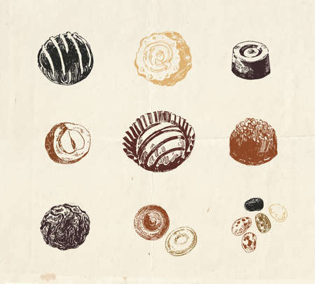 Detailed illustration of hand drawn assorted chocolate candies
