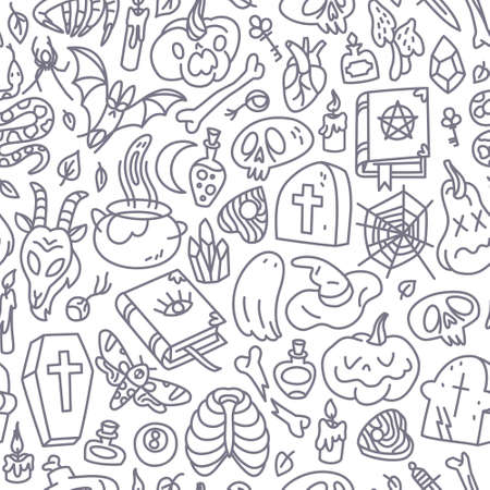 Happy Halloween seamless pattern, abstract background for wrapping and tissue paper, banners and posters