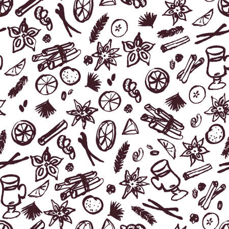 Seamless pattern with mulled wine ingredients, sketchy drawing