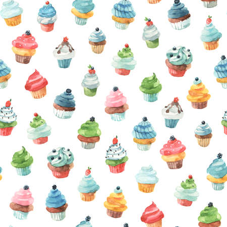 Cute seamless pattern background with little drawings of muffins and cupcakes