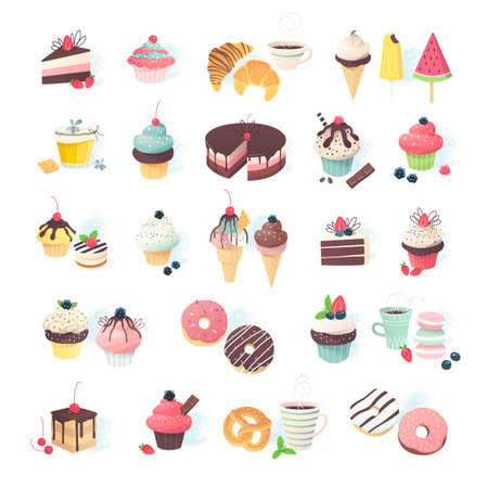 Collection of cute little miniatures of various desserts: cupcake, muffin, pie, cake and ice cream