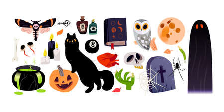 Halloween cartoon illustration, clip art icons for stickers