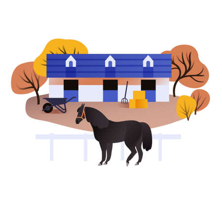 Equestrian scene with a barn and a horse, vector illustration