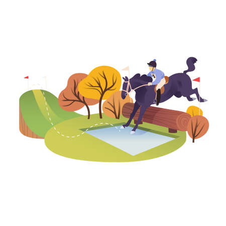 Equestrian event, obstacle course, rider with a horse, vector illustration