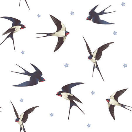Seamless background with swallows, pattern with a flock of birds Ilustração