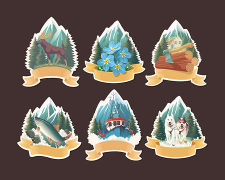 Vector illustration set with Alaska natural scenery, labels and stickers design with fishing boat, sledding dogs, lumberjack axe, majestic moose, salmon in the stream and forget-me-not flowers