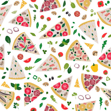 Seamless pattern with pizza slices