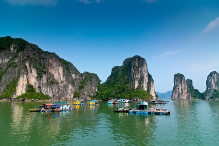 long lake: Fishermen village in Halong bay Vietnam