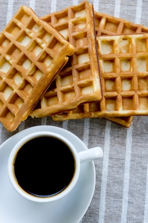 waffles with a cup of coffee