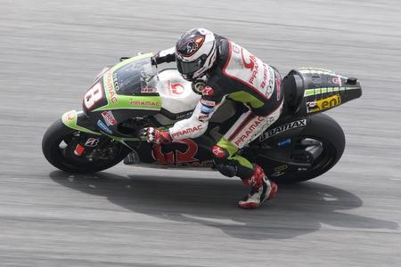 Sepang, Maleisië-FEB 29: Hector Barbera van Pramac Racing Team neemt hoek op 2012 MotoGP Winter Test 2 op 29 feb 2012 in Sepang, Maleisië.