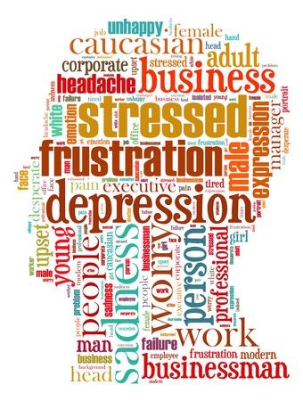 Stress info-tekst, afbeeldingen samengesteld in kopvorm concept (woord wolken)