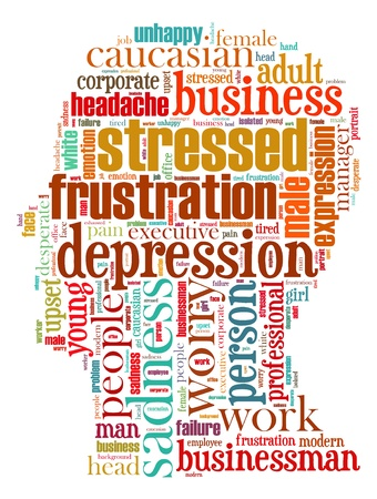 Stress info-text graphics composed in head shape concept (word clouds)