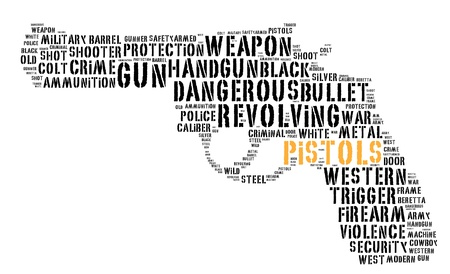 Pistol info-text graphics and arrangement concept (word cloud)  Stock Photo
